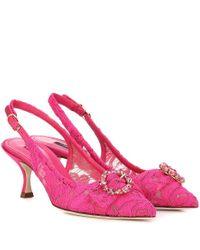 Pumps slingback Lori in pizzo e raso di Dolce & Gabbana in Pink