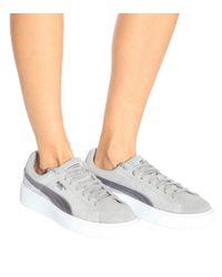 PUMA Gray Platform Safari Suede Sneakers