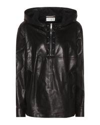 Saint Laurent Black Hoodie aus Leder