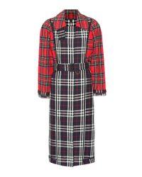Trench-coat à carreaux en coton Burberry en coloris Red