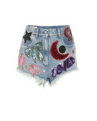 Gucci Blue Verzierte Jeansshorts