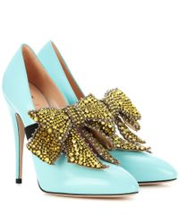 Gucci - Blue Glossed-leather Pumps With Detachable Embellishment - Lyst