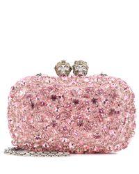 Alexander McQueen Pink Queen And King Embellished Clutch