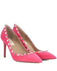 Valentino Pink Rockstud Pumps aus Veloursleder