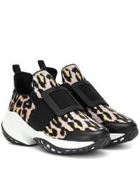 "Roger Vivier Black 75mm Hohe Sneakers Aus Jacquard ""viv Run"""