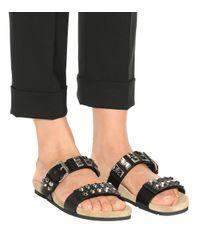 Prada Black Verzierte Pantoletten aus Leder