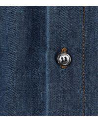 Marni Blue Hemdblusenkleid aus Baumwolle und Leinen