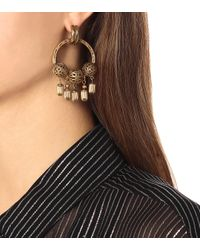 Saint Laurent Metallic Large Charm Hoop Earrings