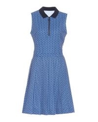 Tory Sport Blue Printed Pleated Golf Dress