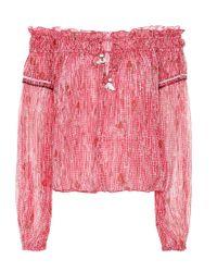 Top Clara a stampa in seta di Poupette in Pink