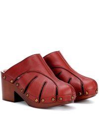 Mules in pelle di Chloé in Red