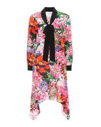 Mary Katrantzou Red Hearts Floral-printed Silk Dress