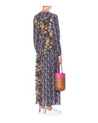 FRAME Multicolor Langes Wickelkleid mit Volants