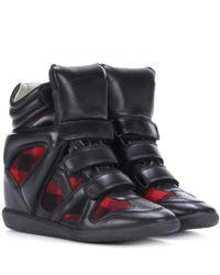 Isabel Marant Black Bekett Leather Wedge Sneakers