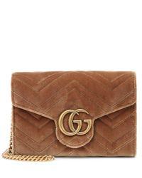 8624747ad23 Gucci GG Marmont Velvet Shoulder Bag in Natural - Lyst