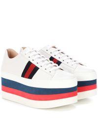 Gucci White Plateau-Sneakers aus Leder