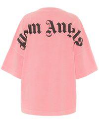 Palm Angels Pink Oversized T-Shirt aus Baumwolle