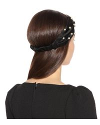 Jennifer Behr Black Faux Pear- Embellished Headband