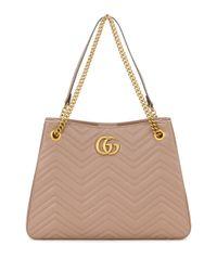 Gucci Natural Shopper GG Marmont aus Leder