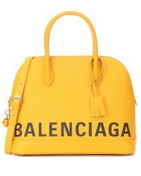 Balenciaga Orange Ville M Leather Tote