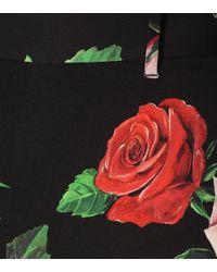 Pantalon Skinny En Charmeuse De Soie Stretch À Imprimé Fleuri Dolce & Gabbana en coloris Black