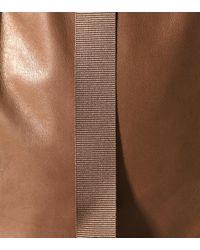 Pantalon raccourci en cuir Brunello Cucinelli en coloris Brown