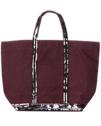 Vanessa Bruno Purple Cabas Medium Embellished Canvas Shopper