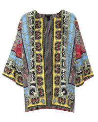 Etro Blue Printed Silk Jacket