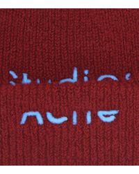 Gorro en mezcla de lana con logo Acne de color Red
