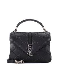 Saint Laurent Black Collège Monogram Leather Shoulder Bag