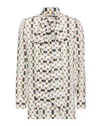 Gucci Multicolor Print Silk Neck Bow Shirt Blouse
