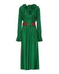 Gucci Green Midikleid aus Seide