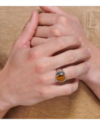 Tom Wood Metallic Oval Tiger Eye And Silver Ring for men