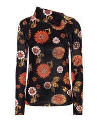 Top a stampa floreale in velluto di Dodo Bar Or in Multicolor