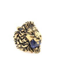 Gucci Metallic Vergoldeter Ring mit Kristall