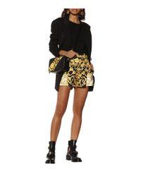 Versace Black High Waisted Baroque Print Silk Shorts