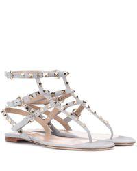 Valentino Gray Rockstud Suede Sandals