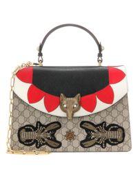 Gucci Red Broche Gg Supreme Leather Shoulder Bag