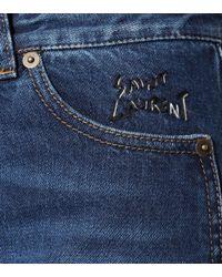 Saint Laurent Blue High-Rise Jeans aus Baumwolle