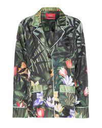 F.R.S For Restless Sleepers Green Bedrucktes Pyjama-Hemd Ade aus Seide