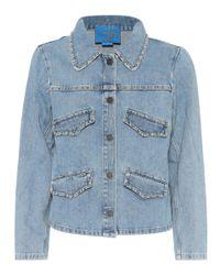 MiH Jeans Blue Embellished Denim Jacket
