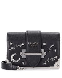 Prada Black Embellished Leather Shoulder Bag