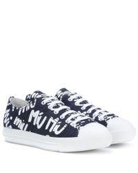 Miu Miu Blue Logo Printed Sneakers