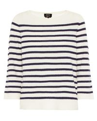 A.P.C. Blue Claudine Striped Merino Wool Sweater