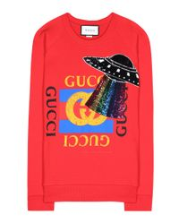 Gucci Red Sequinned Printed Cotton Sweatshirt