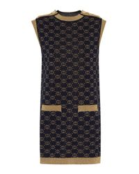 Robe en jacquard de laine mélangée Gucci en coloris Blue