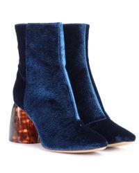 Ellery - Blue Admiral Velvet Ankle Boots - Lyst