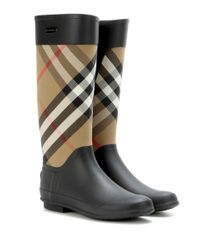 Burberry Gray Check Panel Rainboots