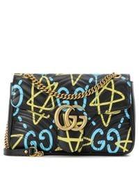 Gucci - Black Ghost Gg Marmont Medium Leather Shoulder Bag - Lyst