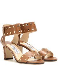 Jimmy Choo Brown Veto 65 Embellished Leather Sandals